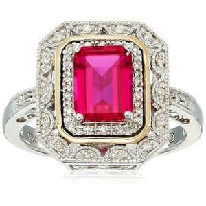❤️gorgeous emerald cut 925silver&gold ruby ring